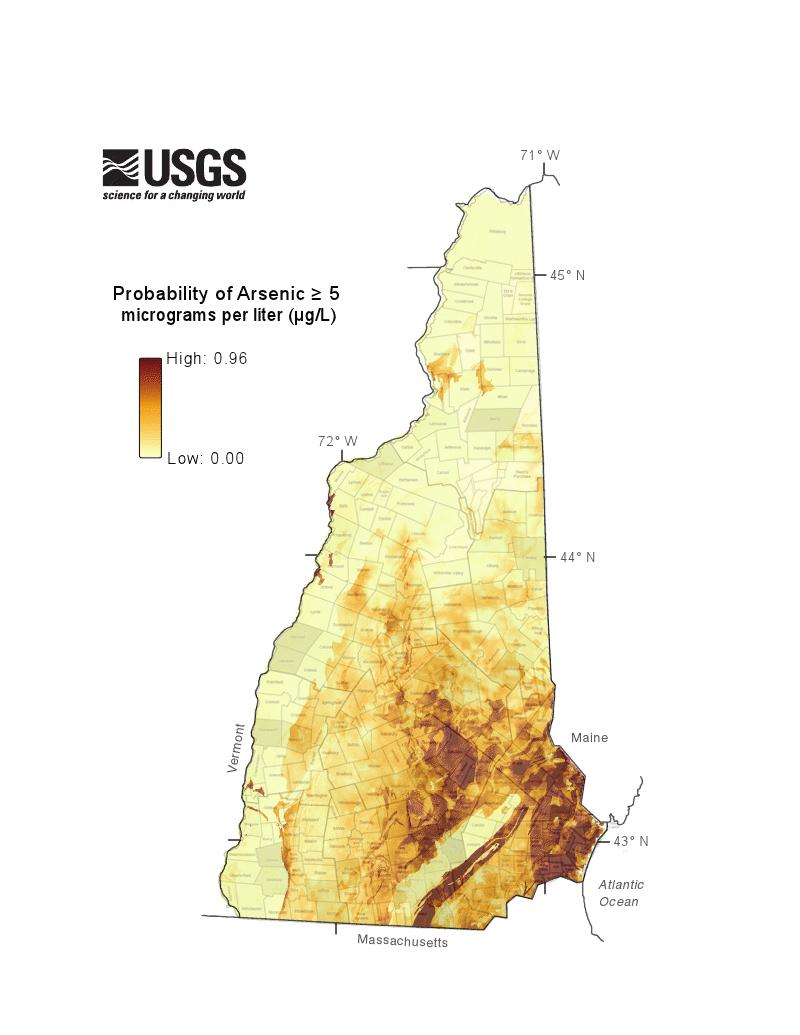 This map estimates the probability of finding arsenic in a bedrock well. DES says even if you aren't in an area with high levels of arsenic, it's possible that other contaminants like radon or uranium are in your water.