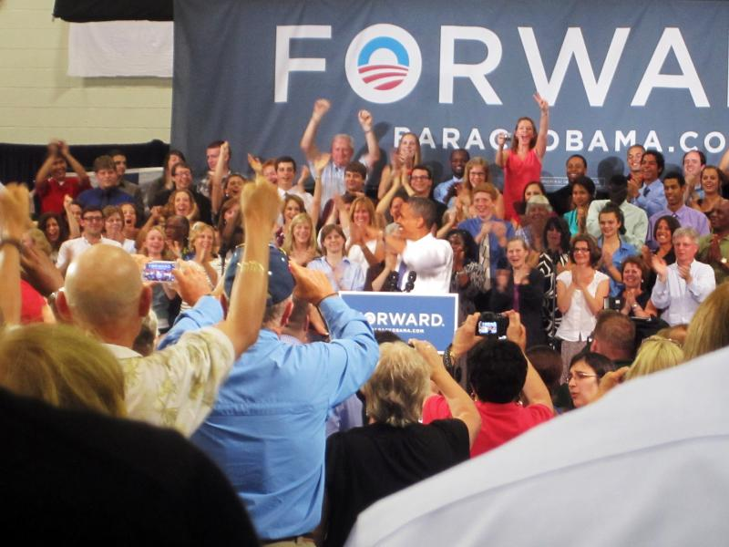 President Obama speaks at a rally at Oyster River High School today in Durham.