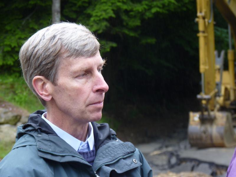 Governor Lynch surveys the damage in Gilsum.