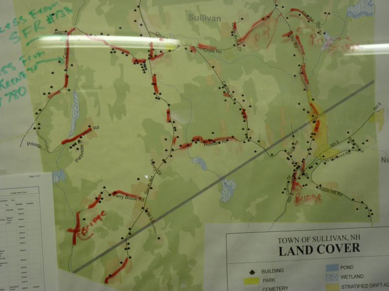 A map showing the damaged roads in Sullivan, NH