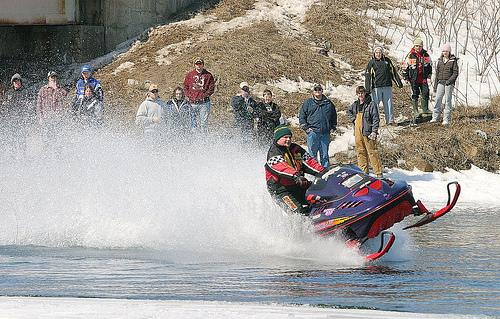 Skimming allows the snowmobile to skim across a surface other than snow.