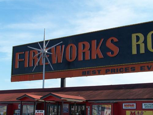 Although heavier business is in the summer, many firework stores are open all year.