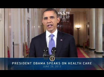 Screenshot of President Obama speaking this afternoon about the Affordable Care Act ruling.