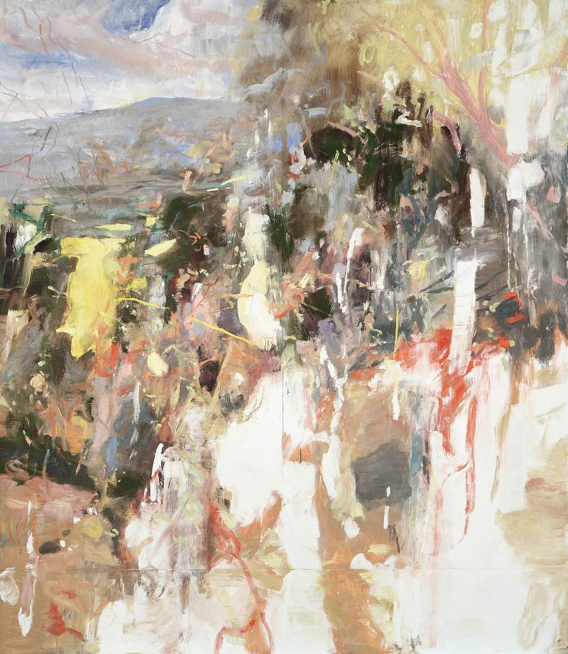 Eric Aho, Daybreak, 2011, Oil on panel, 92 inches x 80 inches. Courtesy of the Artist and DC Moore Gallery, New York.