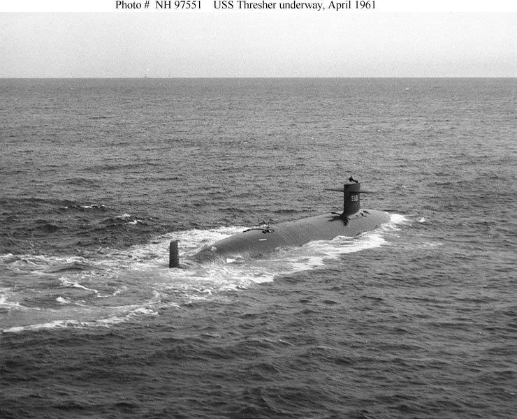 The USS Thresher in 1961, two years before it sank in the Atlantic.
