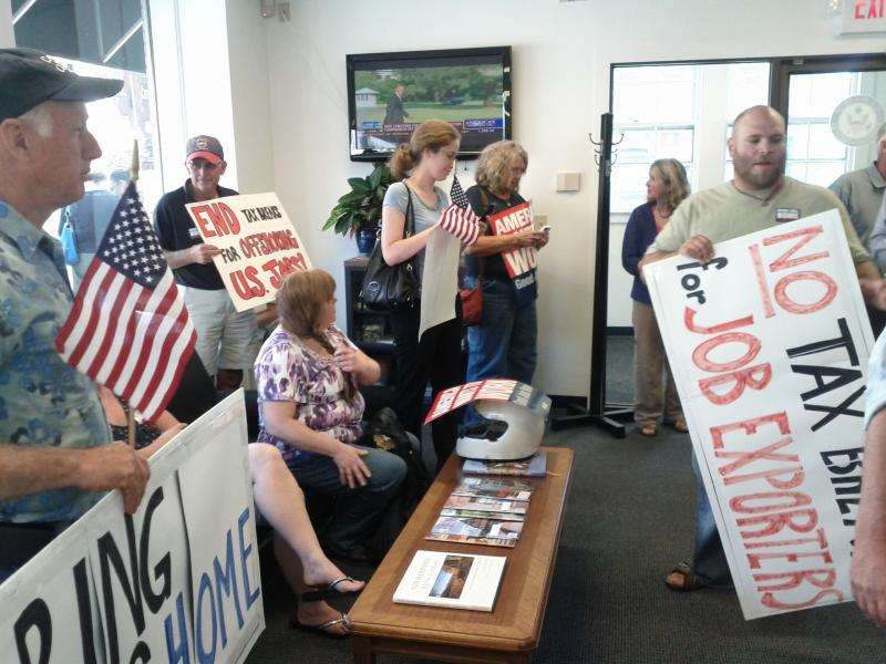 Demonstrators ushered themselves into the air-conditioned congressman's office.
