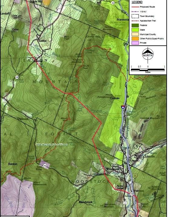 The proposed route through the White Mountain National Forest would follow and possibly widen an existing right-of-way.