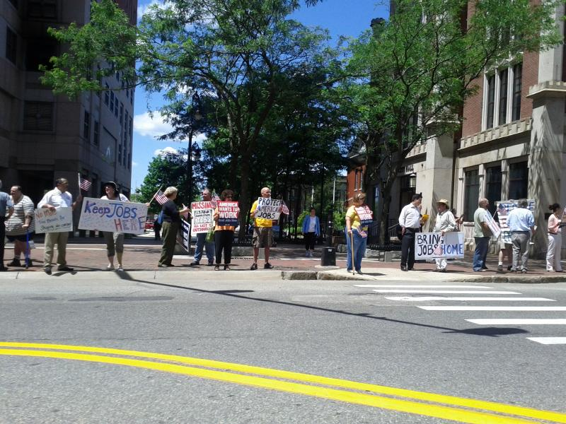 Demonstrators in front of City Hall on Elm St