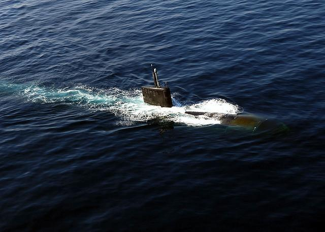 The USS Miami in the North Arabian Sea in 2007. The nuclear submarine was heavily damaged in a fire in May at the Portsmouth Naval Shipyard.