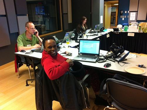 Volunteers Micki Geffrard, Paul Lombardi and Mabakoena Edwards Sekano dedicate their time to NHPR.