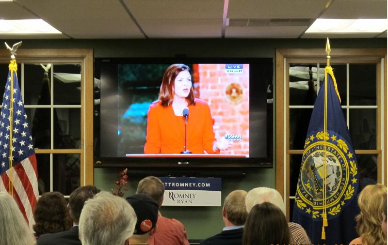 N.H. Republicans cheer on Senator Ayotte, speaking at the convention in Tampa