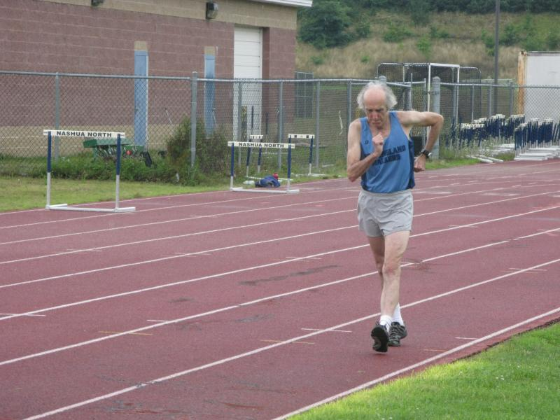 Nashua Racewalker and 1984 Olympics Qualifier Bob Keating demonstrates his sport
