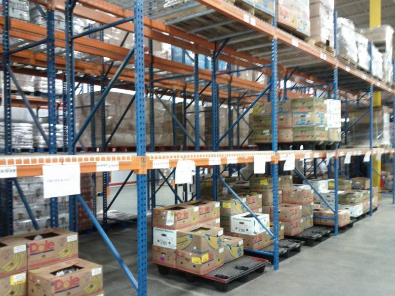 Pallets of donated food in the warehouse of the NH Food Bank.