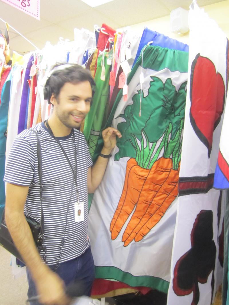 NHPR Intern Zach Nugent poses with carrot flag