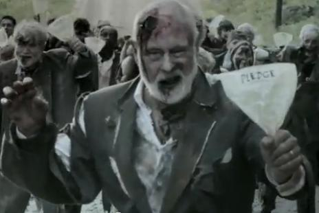 Scene from gubernatorial candidate Jackie Cilley's Pledge Zombie ad.