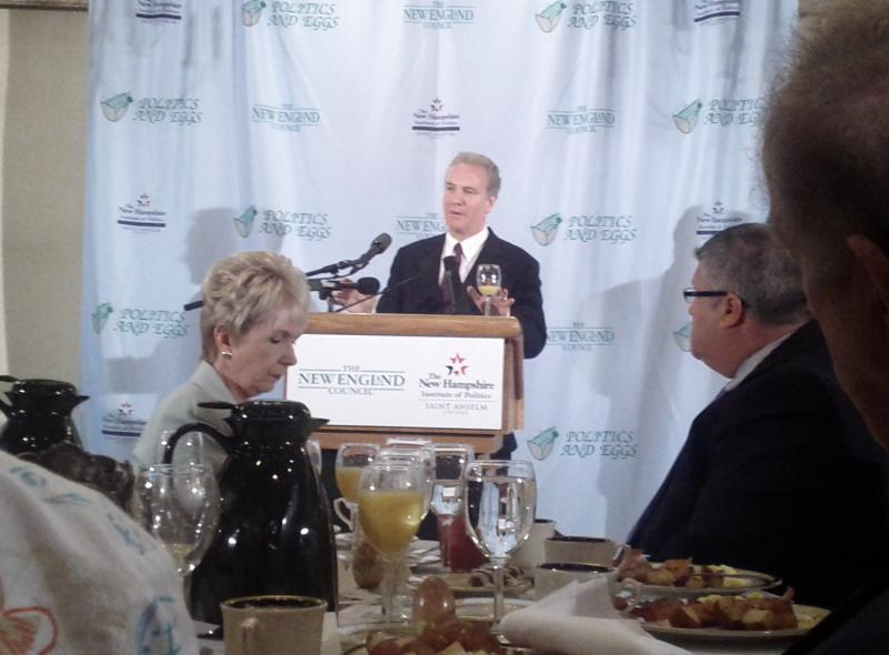 Chris Van Hollen speaking at Politics and Eggs in Bedford