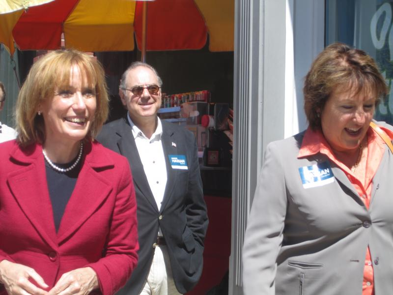 Candidate Maggie Hassan, former Congressman Paul Hodes and State Senator Sylvia Larsen in downtown Concord.