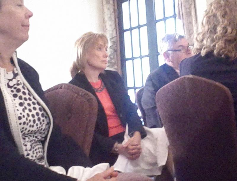 Democratic gubernatorial candidate Maggie Hassan attended the breakfast.