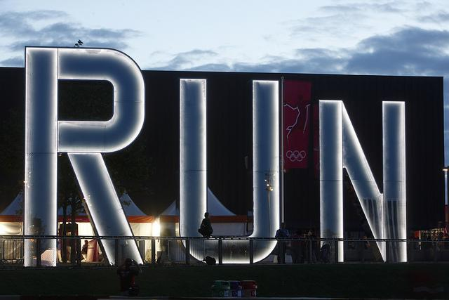 "The ""RUN"" sculpture at London's Olympic Park."