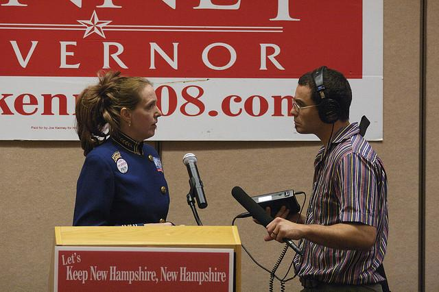 NHPR's Dan Gorenstein (right) talks with a supporter of Republican gubernatorial candidate Joe Kenney at Kenney's primary night 2008 event in Nashua.
