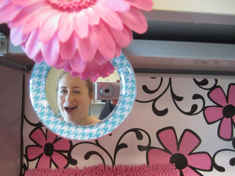 Emma's pretty happy with this wallpaper/mirror combo.