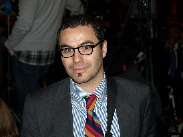 NHPR reporter Dan Gorenstein at the Huntsman camp on primary night 2012.