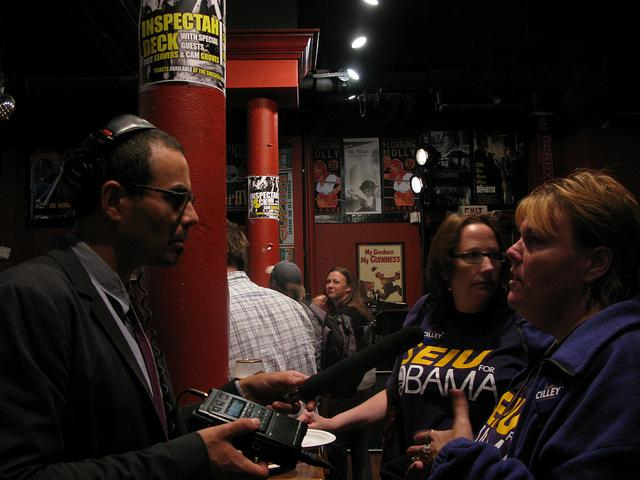 Senior Reporter Dan Gorenstein interviews some Cilley supporters on primary night 2012.