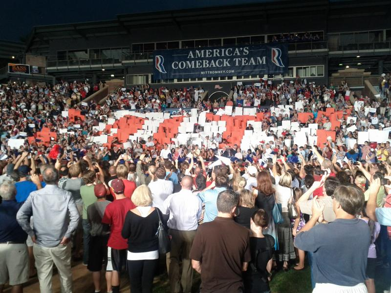 About 4,000 supporters in Holman Stadium, Nashua came to see Romney and his wife Ann.