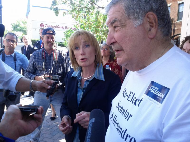 State Senator Maggie Hassan speaking with reporters. State Senator Lou D'Allesandro on the right.