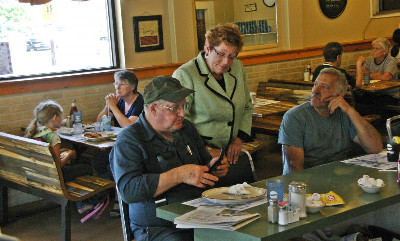 During her campaign in the North Country - including visiting this Colebrook restaurant - Cilley emphasized her Berlin roots. Photo by Chris Jensen.