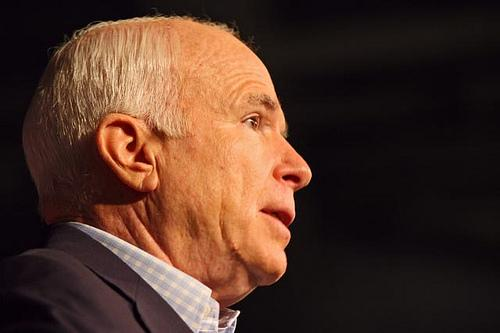 Republican presidential nominee John McCain speaks at a rally in Manchester, October 22, 2008.