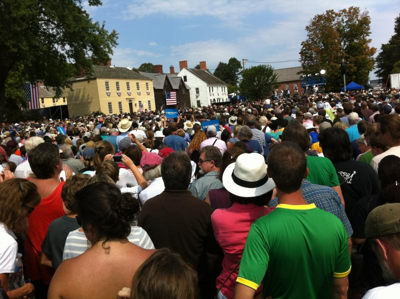 A view from the crowd at President Obama's campaign event at Strawbery Banke in Portsmouth, September 7, 2012.