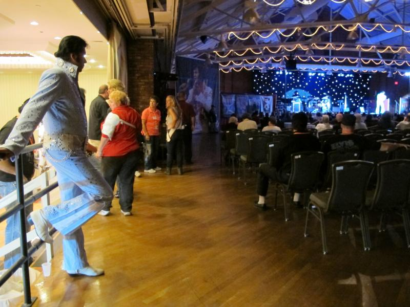 An Elvis Tribute Artist awaits his turn to perform