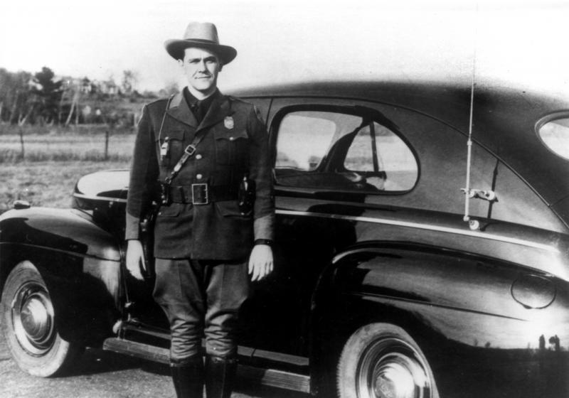A 1941 Ford Cruiser and Trooper Fletcher Forsythe.