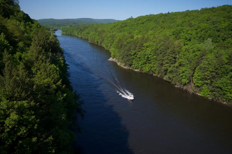 In May 2012 the Obama administration designated the Connecticut River and its 7.2 million-acre watershed as the first segment of a new National Blueways System. Pictured: The Connecticut River in Franklin County, Massachusetts.