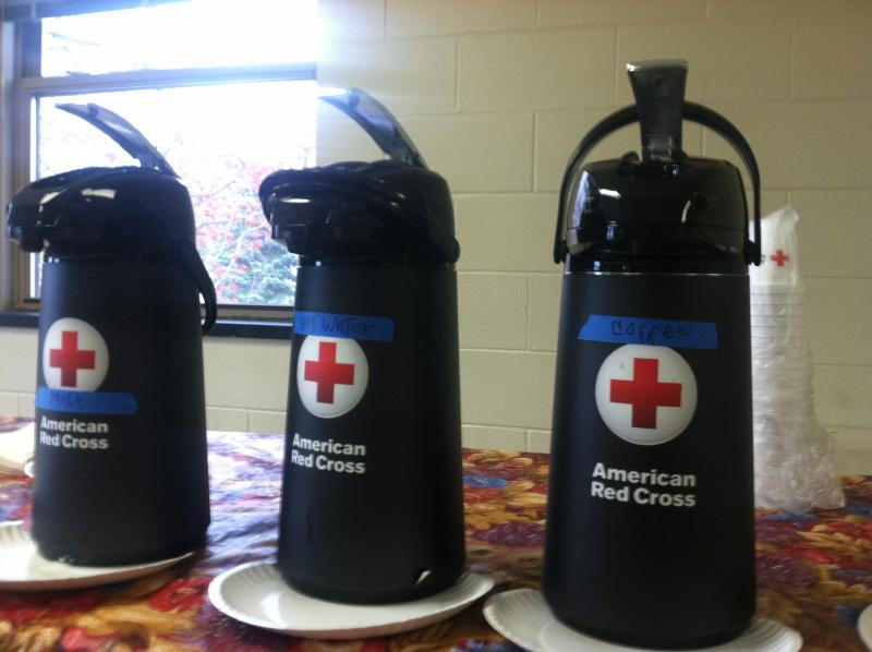 The coffee's ready at the Keene Red Cross shelter