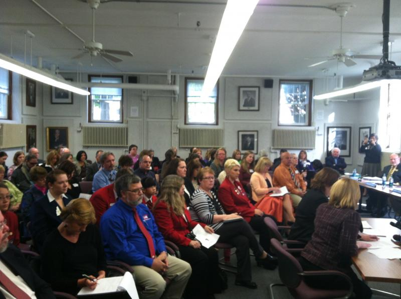 Normally rather sleepy -- this State Board of Education meeting was packed with press and charter school advocates.
