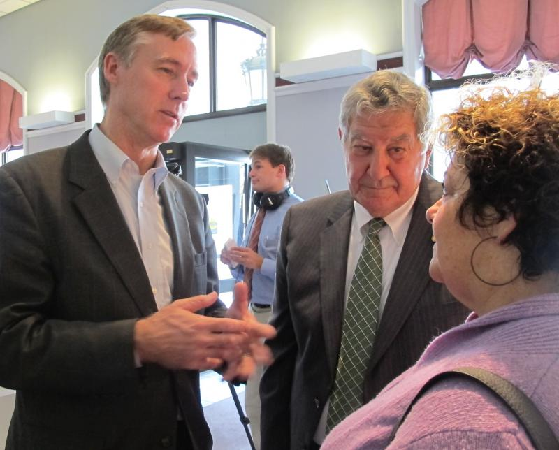 Former Ambassador and Congressman Dick Swett, and New Hampshire Senator Lou D'Allesandro speak with CEO Dawn Wivell about the Fix The Debt campaign at the Legislative Office Building in Concord