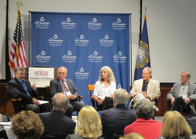 Jesse Devitte, Dennis Delay, Joyce Goodwin, Paul Bemis Ian Howell at NH Forum On The Future, St. Anselm College