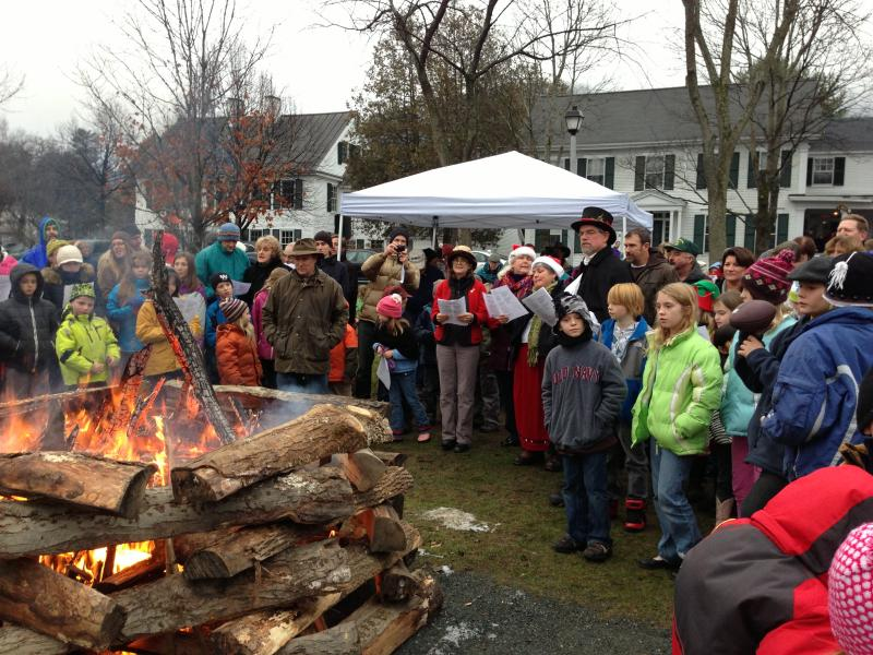 Caroling around the Yule Log, Woodstock, VT