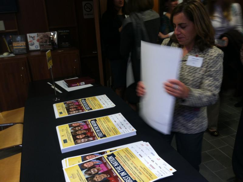 Posters of the all-female delegation were on display at Friday's event at Saint Anselm College.