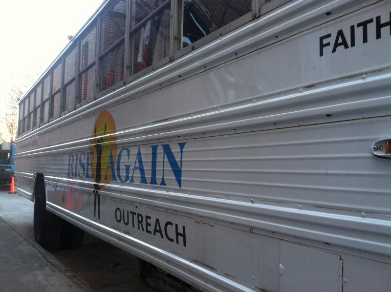 The Rise Again Outreach mobile pantry was set up outside the Green Street Community Center in Concord.