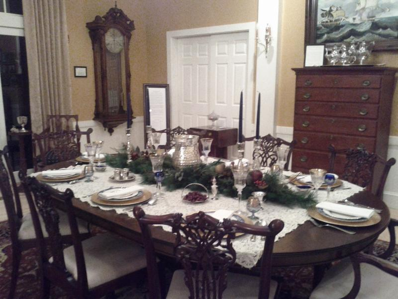 Great Room dining set with old railway clock