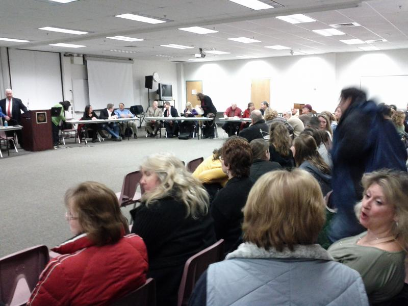 Packed room of mostly Candia residents at the Manchester Health Department
