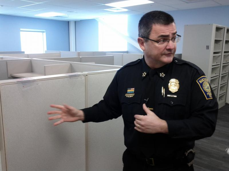 Chief Mara shows off some new office space.