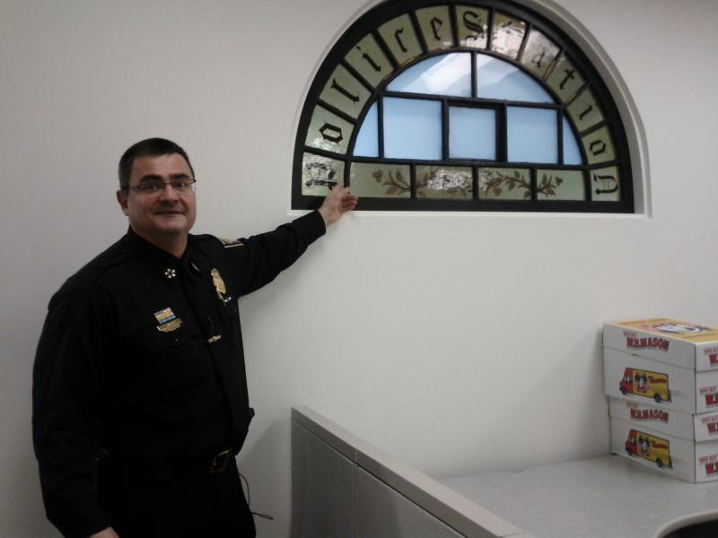 The stain-glass window that was saved from the original nineteenth century station has been incorporated in the administration division.