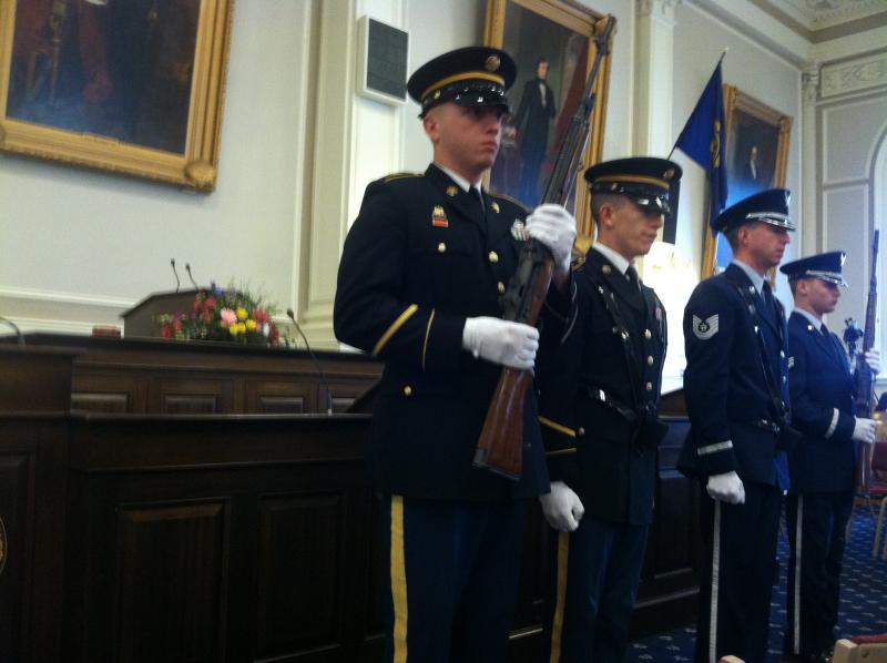 The honor guard rehearses before the inauguration begins.