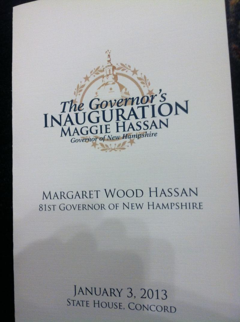 The program from Maggie Hassan's inauguration.