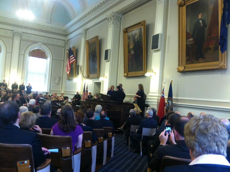 Maggie Hassan being sworn in as the 81st governor of New Hampshire