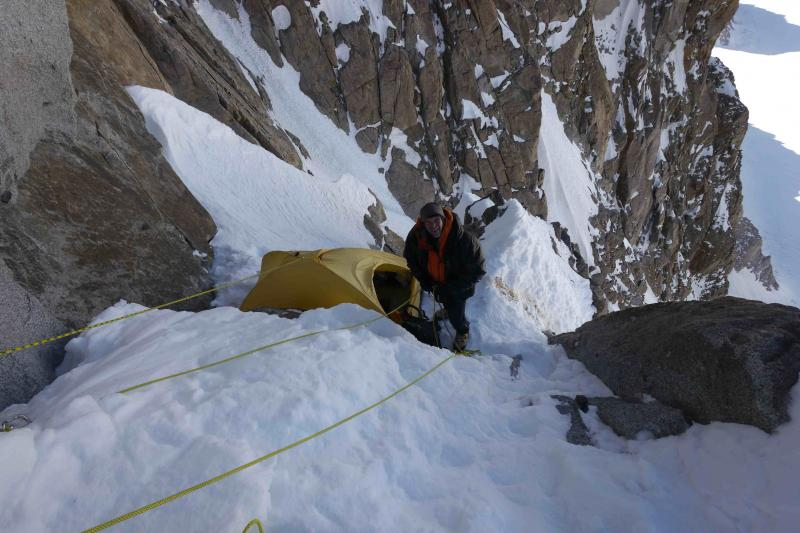 Because the terrain was so steep, the climbers struggled to find places to pitch their tent and bivy.